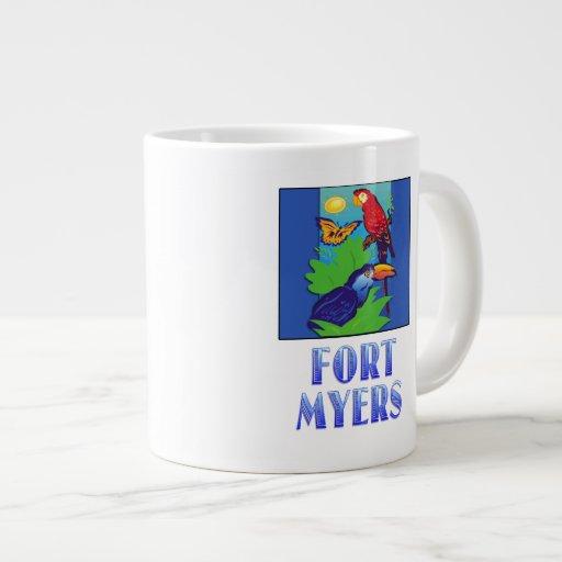Macaw, loro, mariposa y selva pie MYERS Taza Jumbo
