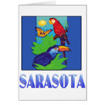 Macaw, loro, mariposa y selva SARASOTA Tarjeta