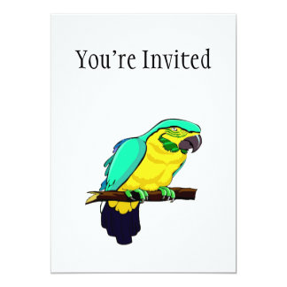 Macaw On Branch 5x7 Paper Invitation Card