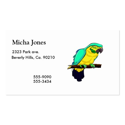 Macaw On Branch Double-Sided Standard Business Cards (Pack Of 100)