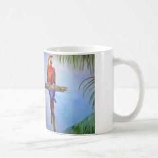 MACAW Parrot Bird Tropical Beach Theme Painting Coffee Mug