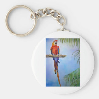 MACAW Parrot Bird Tropical Beach Theme Painting Keychain