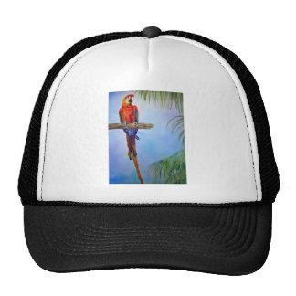 MACAW Parrot Bird Tropical Beach Theme Painting Trucker Hat
