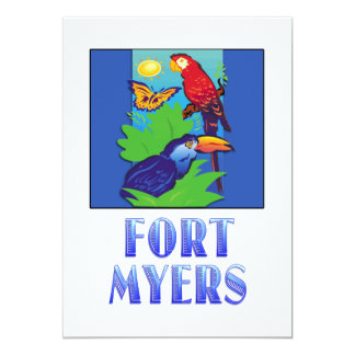 Macaw, Parrot, Butterfly & Jungle FT MYERS 5x7 Paper Invitation Card