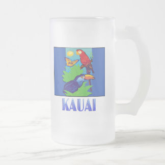Macaw, Parrot, Butterfly & Jungle KAUAI Frosted Glass Beer Mug