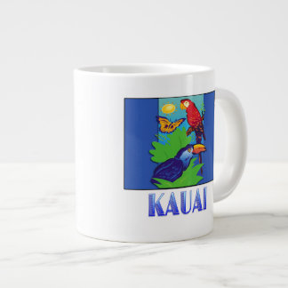 Macaw, Parrot, Butterfly & Jungle KAUAI Large Coffee Mug