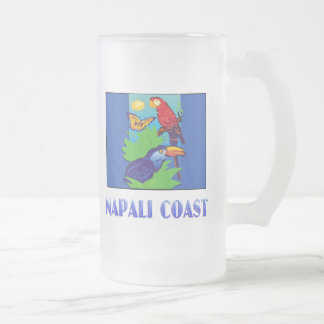 Macaw, Parrot, Butterfly & Jungle NAPALI COAST Frosted Glass Beer Mug