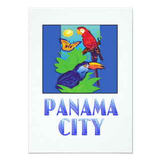 Macaw, Parrot, Butterfly & Jungle PANAMA CITY 5x7 Paper Invitation Card