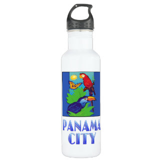 Macaw, Parrot, Butterfly & Jungle PANAMA CITY 24oz Water Bottle