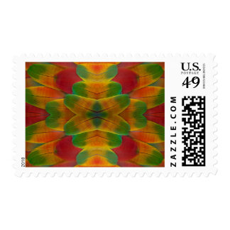 Macaw parrot feather kaleidoscope stamp