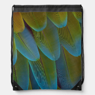 Macaw parrot feather pattern detail drawstring backpack