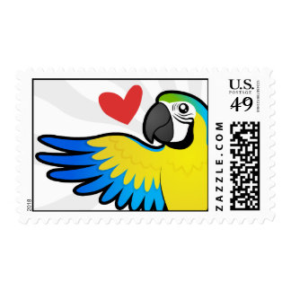 Macaw / Parrot Love Postage Stamp