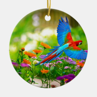 Macaw Parrot Double-Sided Ceramic Round Christmas Ornament