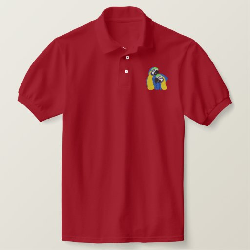 Macaw Parrots Embroidered Polo Shirt
