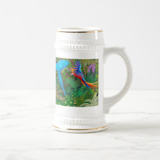Macaw Parrots in Central American Jungle Stein
