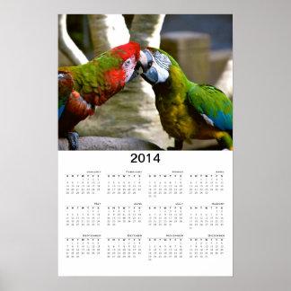 Macaw Parrots Kissing 2014 Calendar Poster