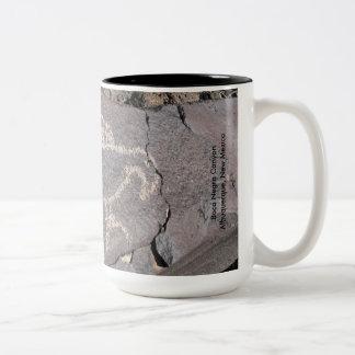 Macaw Petroglyph of an Exotic Bird Two-Tone Coffee Mug