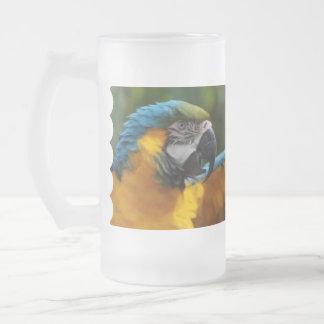 Macaw rizado del azul y del oro taza de cristal