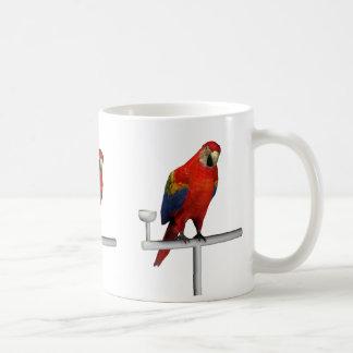 Macaw rojo del escarlata del loro taza