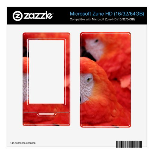 Macaw rojo del escarlata zune HD calcomanías