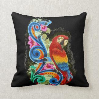 macaw scarlet black throw pillow