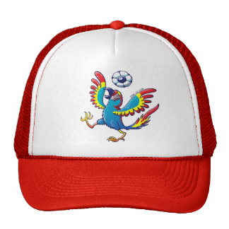 Macaw talentoso que despide un balón de fútbol en gorro