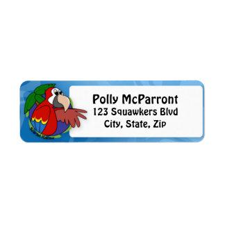 Macaw tropical del escarlata etiquetas de remite