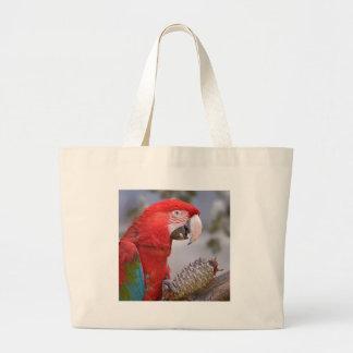 macaw Verde-con alas con el cono del pino Bolsa De Tela Grande