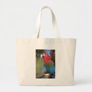 Macaw verde-con alas primer bolsa de tela grande