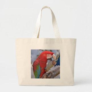 macaw Verde-con alas que come el cono del pino Bolsa De Tela Grande