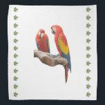 "Macaws Bandana<br><div class=""desc"">Scarlet macaws decorate this pretty 19.5 X 19.5 bandana</div>"