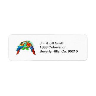 Macaws del escarlata etiquetas de remite