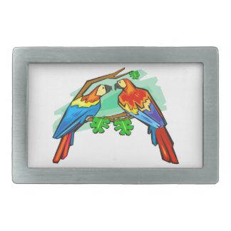 Macaws del escarlata hebillas cinturón rectangulares