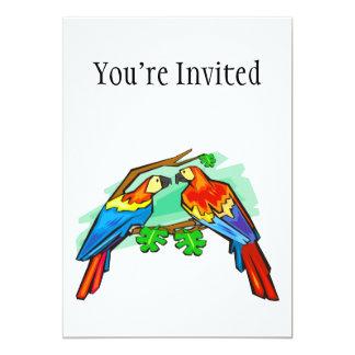 """Macaws del escarlata invitación 5"""" x 7"""""""