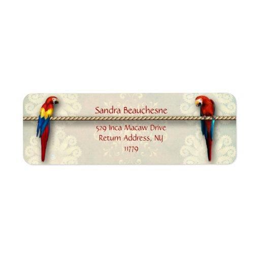 Macaws del inca - cordón poner crema etiqueta de remite