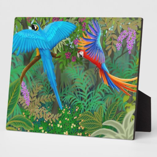 Macaws in Central American Jungle Plaque
