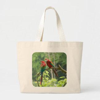 Macaws Verde-cons alas Bolsa De Tela Grande