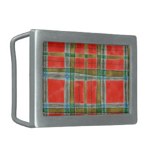MacBain Tartan Rectangular Belt Buckle