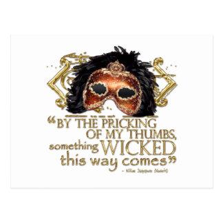 """Macbeth """"algo"""" cita traviesa (versión del oro) tarjetas postales"""
