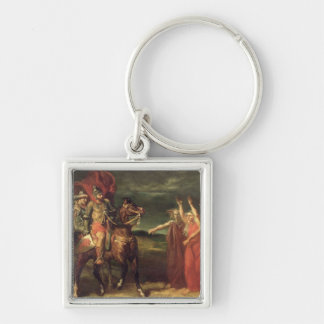 Macbeth and the Three Witches, 1855 Silver-Colored Square Keychain