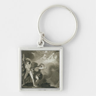 Macbeth, Banquo and the Three Witches on the Heath Silver-Colored Square Keychain