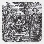 Macbeth, Banquo y las tres brujas Pegatina Cuadrada