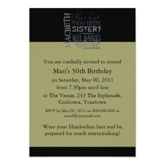Macbeth Killing Swine Quote 5x7 Paper Invitation Card