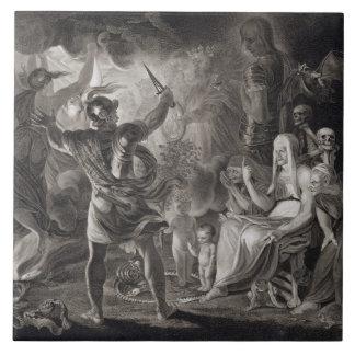 Macbeth, las tres brujas y Hecate en el acto IV, S Azulejo Cuadrado Grande