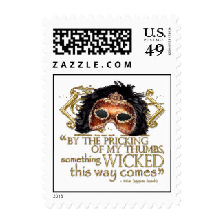 """Macbeth """"Something Wicked"""" Quote (Gold Version) Postage Stamps"""