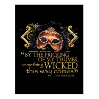 """Macbeth """"Something Wicked"""" Quote (Gold Version) Postcard"""