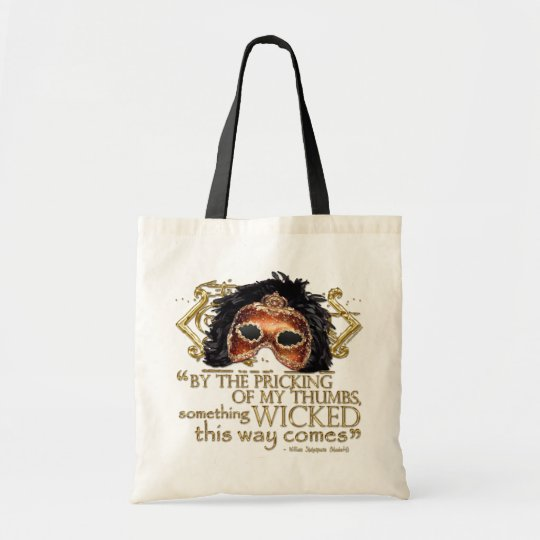 """Macbeth """"Something Wicked"""" Quote (Gold Version) Tote Bag"""