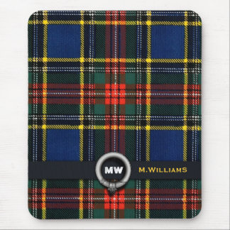 Macbeth Tartan Monogram Mouse Pad