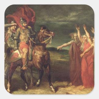 Macbeth y las tres brujas, 1855 pegatina cuadrada