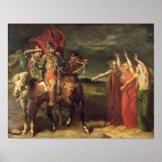 Macbeth y las tres brujas, 1855 póster